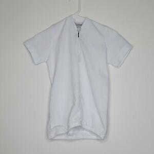 Aero Tech Designs Boys Child Size L/XL White Short Sleeve 1/4 Zip Cycling Jersey