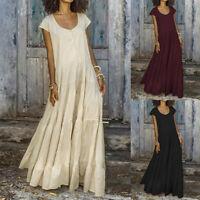 ZANZEA Women's Ethnic Holiday Long Maxi Dress Round Neck T-Shirt Dress Sundress