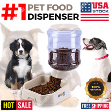 Automatic Pet Food Dispenser Feeder Puppy Dish Food Feeding Bowl Cat Dog Beige