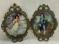 Vintage Ornate Victorian Frame Blue Boy & Pinkie JIC NY Set Made In Italy-Bubble