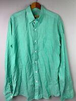 J CREW Green LIGHTWEIGHT CHAMBRAY Button Front Shirt L/S Mens Medium EUC