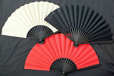 3 JAPANESE RED BLACK CREAM GEISHA HAND FAN FANCY DANCE CHINESE WEDDING PARTY