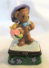 Porcelain ~ April Springtime Teddy Bear ~ Hinged Trinket Box Figurine