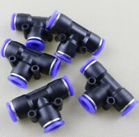 "5pcs Pneumatic Connector OD 10mm 3/8"" Tube Hose Tee Union Push In Fitting f Air"