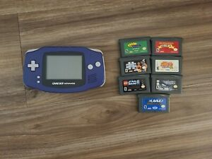 Nintendo Game Boy Advance System (Indigo) w/7 games TESTED AND WORKING!