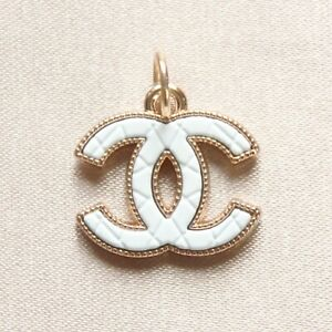 Chanel Zipper Pull Pendant, 20mm, Gold, White, Quilted, Stamped