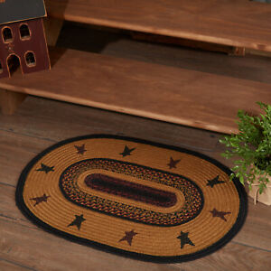"""VHC Brands Primitive 20""""x30"""" Star Accent Rug Yellow Stenciled Farms Floor Decor"""