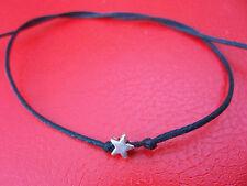 KARMASTRING simple black string tie on bracelet  anklet + silver colour star om
