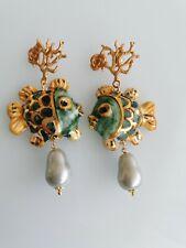 Orecchini ceramica Caltagirone  , perle goccia