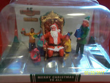 Lemax Coventry Cove Merry Xmas To All Christmas Village Accent Visit w/ Santa