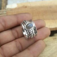 Labradorite Stone Solid 925 Sterling Silver Spinner Ring Meditation Ring Size K4