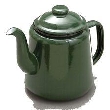 Falcon GREEN Enamel Tea Pot With Handle & Lid Teapot Genuine Falcon Enamel Ware