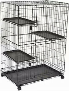 Amazon basic cat cage large three-tier 91cm x 56cm x 130cm black fromJAPAN