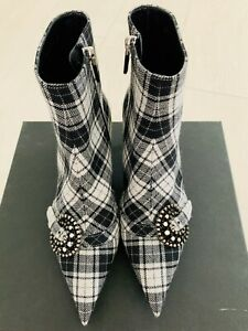 New CHRISTIAN DIOR Black 'Dior Gang' Tartan Ankle Boots Heels Shoes 36/5.5 $1250