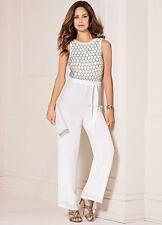 Winter White Chiffon jumpsuit with Beaded Bodice Size 16 NEW (£105)*Seconds