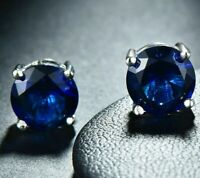 1.00ct TGW Tanzanite Round 14K White Gold Plated Stud Earrings