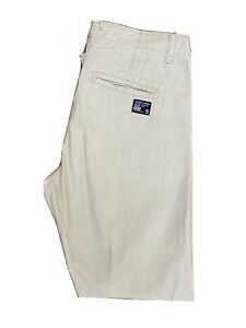 Original Superdry Limited Edition Straight Beige Cotton Trousers W33 L32 ES 7974