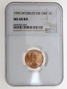1995 1C LINCOLN MEMORIAL ONE CENT NGC MS68 RD DOUBLE DIE OBV