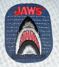 """70s Vintage JAWS Blue Jean Denim Iron On Patch 4.5"""" x 3"""" Shark Patch by Nielsen"""