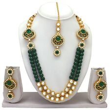 Traditional Indian Bridal Ethnic Gold Tone Fashion Jewelry Necklace Earrings Set