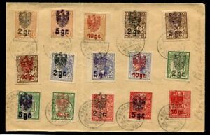 AP610) Ukraine old cover mix franked Poland post in Oekraine