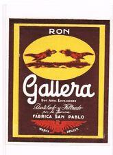 Unused 1940s 90mm CHILE San Pablo RON GALLERA RUM Cockfighting Label