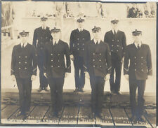 PORTRAIT OF EIGHT NAVAL OFFICERS IN FULL UNIFORM ON SHIPS DECK W/ FULL NAMES