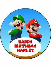 "Super Mario Personalised 7.5"" Birthday Cake Topper on Icing SMC1"