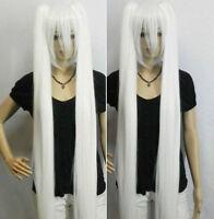 100cm Anime Snow Miku Long Straight pure White twin tail Cosplay Wig
