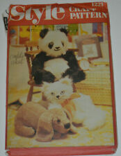 sewing pattern toy panda dog and cat