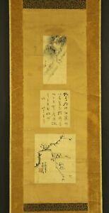 "JAPANESE HANGING SCROLL ART Painting ""Set of three artists""  #E5796"