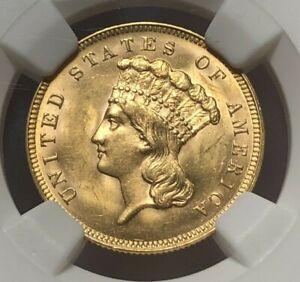 1889 $3 3 Dollar Gold Indian Princess Coin - NGC MS63