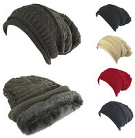 Unisex Women Men Winter Thick Baggy Slouchy Beanie Knit Oversized Hat Ski Cap #4
