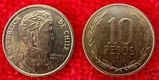 CHILE, 10 PESOS 2014, VERY NICE COIN, KM # 228, MINTED IN HOLLAND