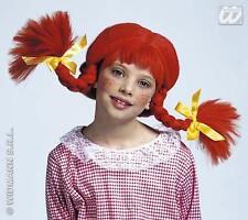 Childrens GINGER Parrucca Arancione con bedable Trecce HALLOWEEN FANCY DRESS