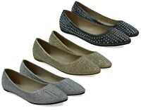 Ladies New Pointed Toe Stone Establishment Slip On Court Shoes UK Size 3-8