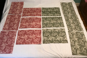 Set 12 Red / Green Holly 100% Cotton Woven Fabric Christmas Placemats Reversible