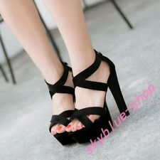Sexy Womens Platform High Heel Pumps Cross Ankle Strap Open Toe Sandal Shoes New