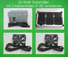 20W Solarlüfter Solar Gewächshaus Lüfter Solarventilator Akku Batterie IP58 NEU