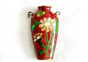 Antique Chinese Brass Cloisonne Miniature Vase Pendant Signed Excellent Piece
