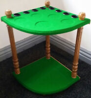 SNOOKER/POOL HAND CRAFTED 8 CORNER CUE RACK/HOLDER (MADE IN THE UK)