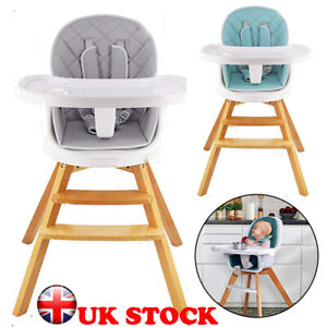 4 in 1 Baby High Chair Infant Child Feeding Seat Wooden Dining Table Chair Set