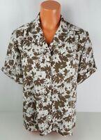 Pendleton Womens Shirt 16 Short Sleeve Blouse Brown Hawaiian Floral Print Silky