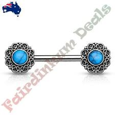 Nipple Barbell With Antique Silver Tribal Heart Filigree Ends Turquoise Centre