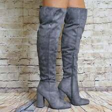 GREY FAUX SUEDE OVER THE KNEE BOOTS BLOCK HEEL HIGH HEELS SHOES SIZE 3 4 5 6 7 8