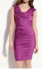 Designer Tadashi Shoji Beaded Shoulder Silk Purple Jersey Sheath Dress Size L