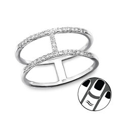 TJS 925 Sterling Silver Midi Ring Clear CZ Double Line US Size 3.5 Jewellery