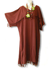 Brown Solid Kimono Plus Size Caftan Kaftan Tunic Hippy Dress -2X, 3X, 4X & 5X