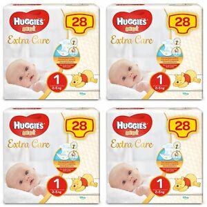 Kit Pannolini Huggies Extra Care Mis. 1 2-5 Kg 4 Pacchi da 28 pz
