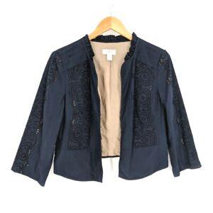 Ann Taylor Loft Jacket Blazer Womens 6 Blue Embroidered Eyelet 3/4 Sleeve Crop